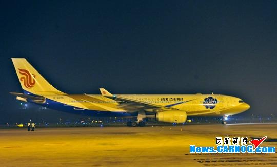 国航复航北京——雅典航线,图为首班机型空中客车a330飞机.